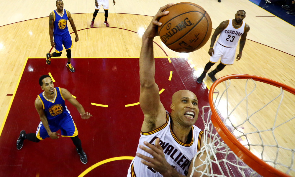 Jun 8, 2016; Cleveland, OH, USA; Cleveland Cavaliers forward Richard Jefferson (24) dunks the ball against Golden State Warriors guard Shaun Livingston (34) in game three of the NBA Finals at Quicken Loans Arena. Mandatory Credit: Ronald Martinez/Pool Photo via USA TODAY Sports ORG XMIT: USATSI-269458 ORIG FILE ID:  201600608_pjc_so3_290.JPG