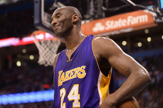 Apr 11, 2016; Oklahoma City, OK, USA; Los Angeles Lakers forward Kobe Bryant (24) reacts after a call in action against the Oklahoma City Thunder during the first quarter at Chesapeake Energy Arena. Mandatory Credit: Mark D. Smith-USA TODAY Sports
