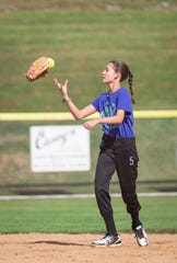 Kendall Kemm, who lost the use of her left hand after undergoing treatment for brain arteriovenous malformation, gets ready to throw a softball.